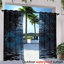 Trelemek Night Sky Outdoor Window Curtains Witchcraft Spell Ceremony Atmosphere Forest Full Moon Branches Image Simple Stylish Light Blue and Black 84x108 INCH