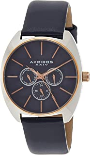 Akribos Multifunction Chronograph Watch- Men's Casual Designer Wristwatch On Genuine Leather Watch - AK998