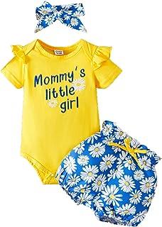 Ensemble Bébé Fille de Vêtements pour Bébé 3 Pièces Mode Manches Longues Manche Courte Body Barboteuse et Short Imprimé Fl...