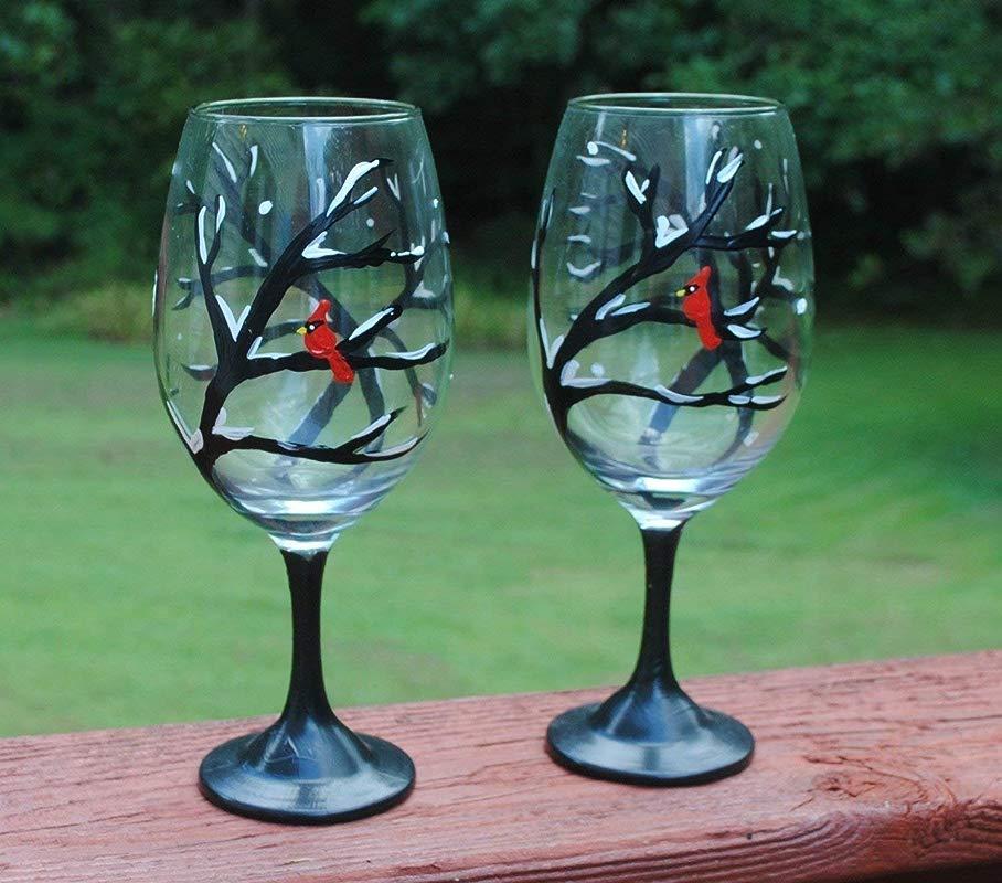 2 Winter Snowy Tree Red Cardinal Wine Glasses Set