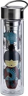 EigenArt Double Wall Glass Tea Maker & Water Bottle FlowTea Series with Stainless Steel Sieve, 350-400 ml / 11.85-13.5 Oz (Little Geisha Red)