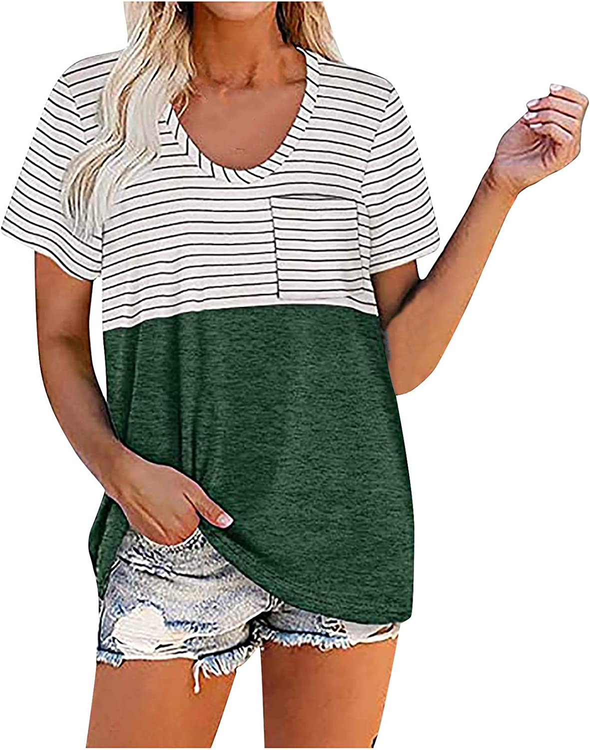 Fankle Women-Plus-Size-Tops Summer T Shirts Color Block Tee Striped Tunics with Pockets