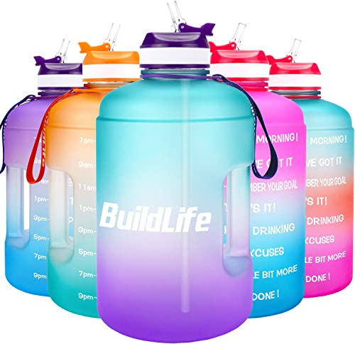 BuildLife Gallon Motivational Water Bottle Wide Mouth with Straw & Time Marked to Drink More Daily - BPA Free Reusabl...