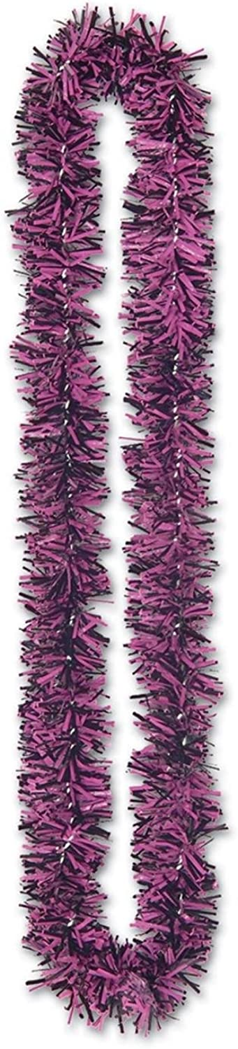 Club Pack of 144 Pink and Black Bachelorette Fringed SoftTouch Poly Party Leis