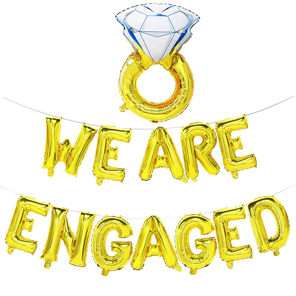 We are Engaged Balloon Banner with Diamond Ring | Engagement Party Decorations Gold