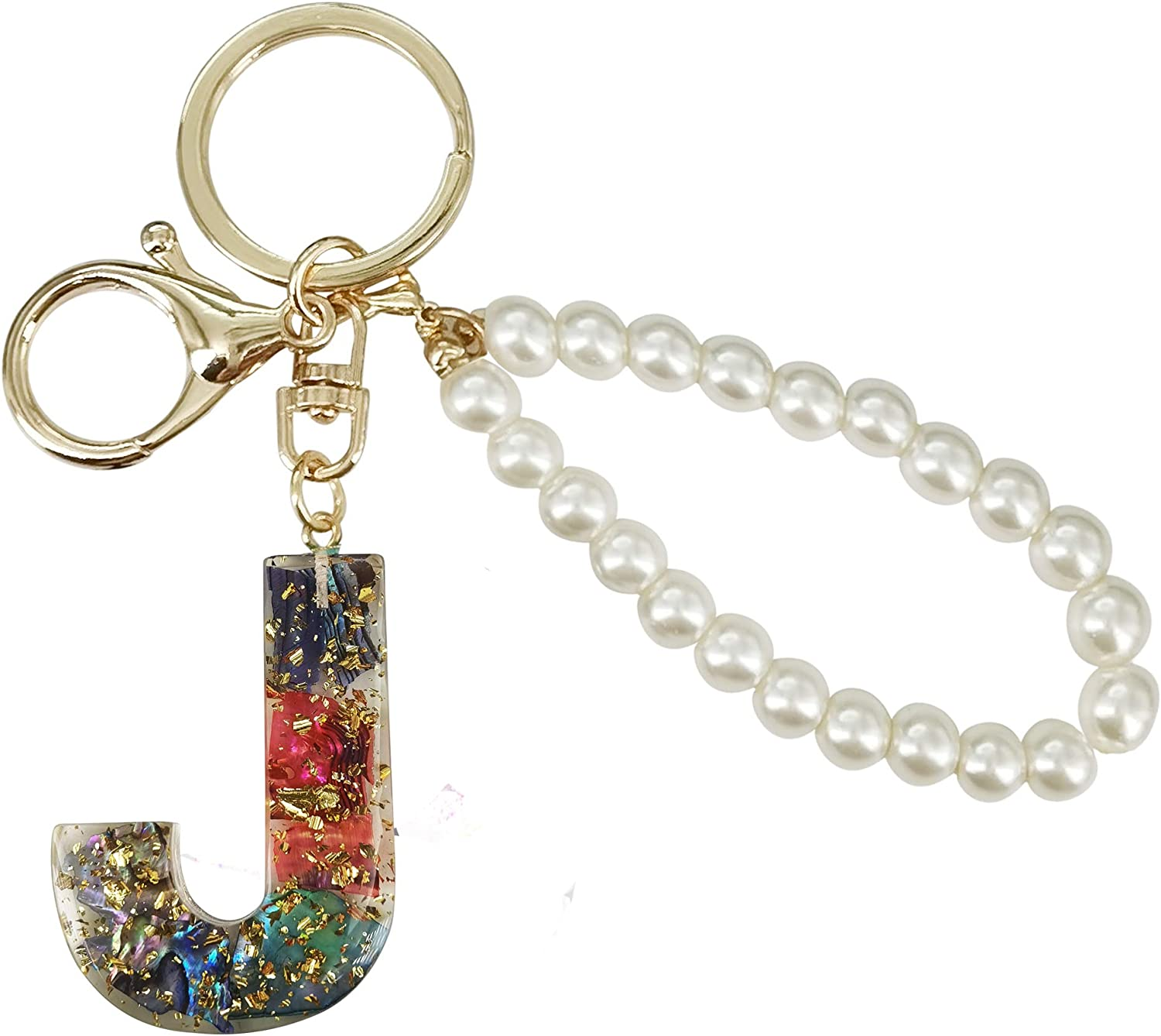 SELOVO Shinning Multicolor Initial Key Chain Capital Letter Alphabet Simulated Pearl Chain Keyring