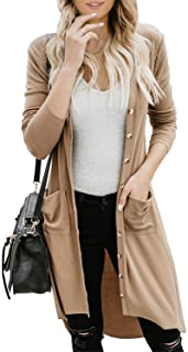 Paitluc Cardigans for Women Open Front Long Knited Cardigan Solid Color S-2XL