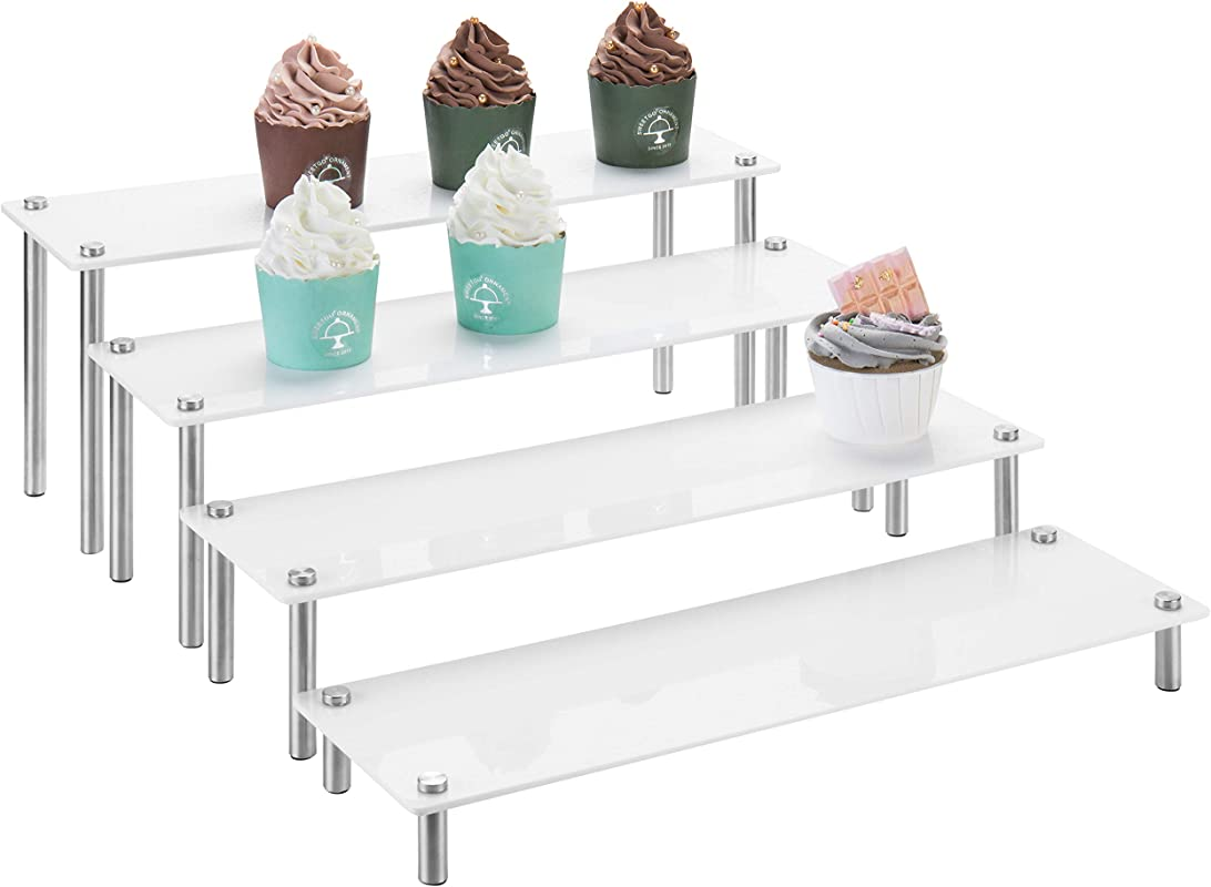 MyGift 4 Tier Rectangular White Acrylic Cupcake Display Riser Stand