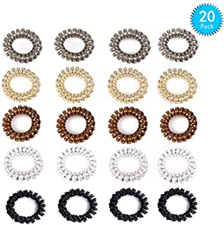 Spiral Hair Ties 20 Pcs Hair Rubber Bands Ponytail Holders for Women Girls Plastic Coil Hair Ties phone Cord Hair Tie Set