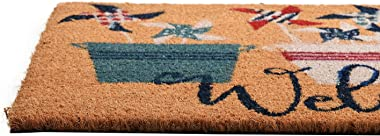 GAURI KOHLI Natural Coir Entryway Low Profile Doormat for Patio, Front Door; with Heavy-Duty Non-Slip PVC Backing; Flower Pot