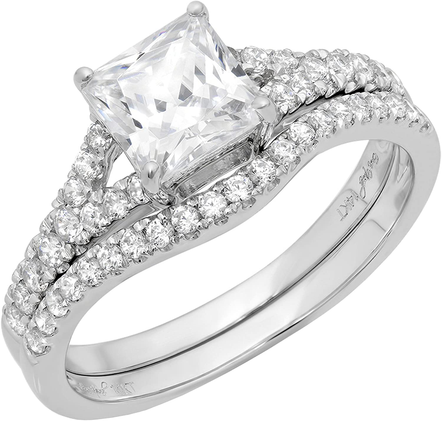 2.01ct Princess Cut Pave Solitaire Accent Lab Created White Sapphire & Simulated Diamond Engagement Promise Statement Anniversary Bridal Wedding Ring Band set Curved Real Solid 14k White Gold