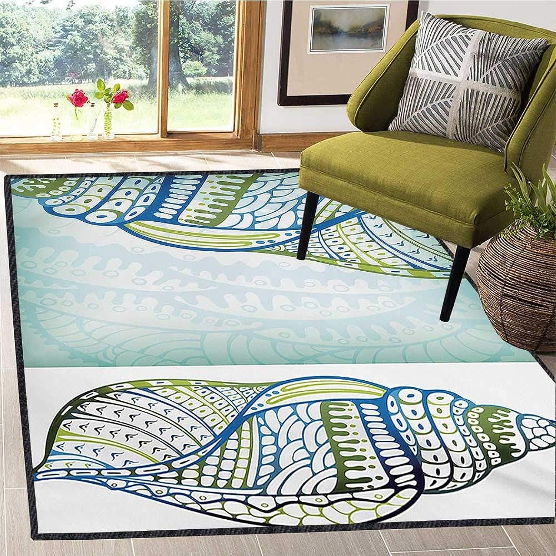 Seashells, Floor Mat for Kids, Abstract Seashell Graphic on Ornate Coral Texture Print Background Marine, Door Mat Indoors Bathroom Mats Non Slip 4x5 Ft bluee Green White