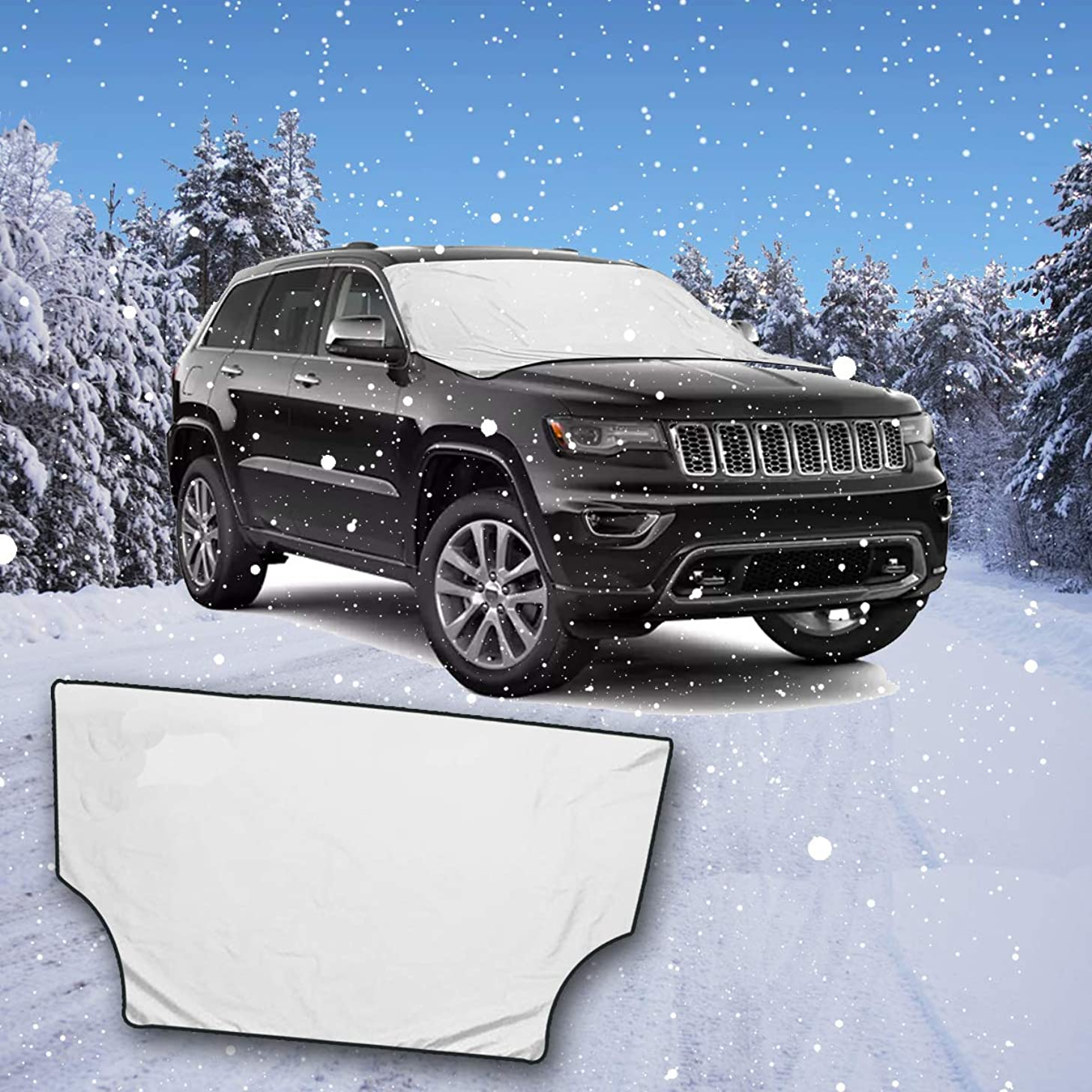 VaygWay Magnetic Car Snow Cover- Windshield Frost Ice Snow Protector- SUV Exterior All Weather Frost Guard-Waterproof Clean Reversible Car Cover