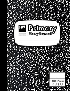 Primary Story Journal: Black Marble Primary Composition Notebook with Picture Space | Grades K-2 | 100 Pages | Large 8.5x1...