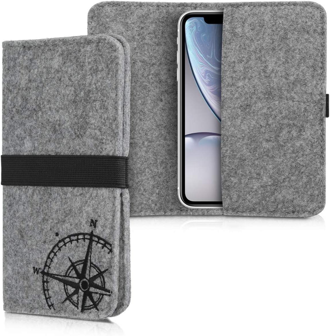 kwmobile Funda móvil Compatible con Smartphone - Carcasa de Fieltro Universal con Banda y Bolsillos Aguja magnética Negro/Gris Claro
