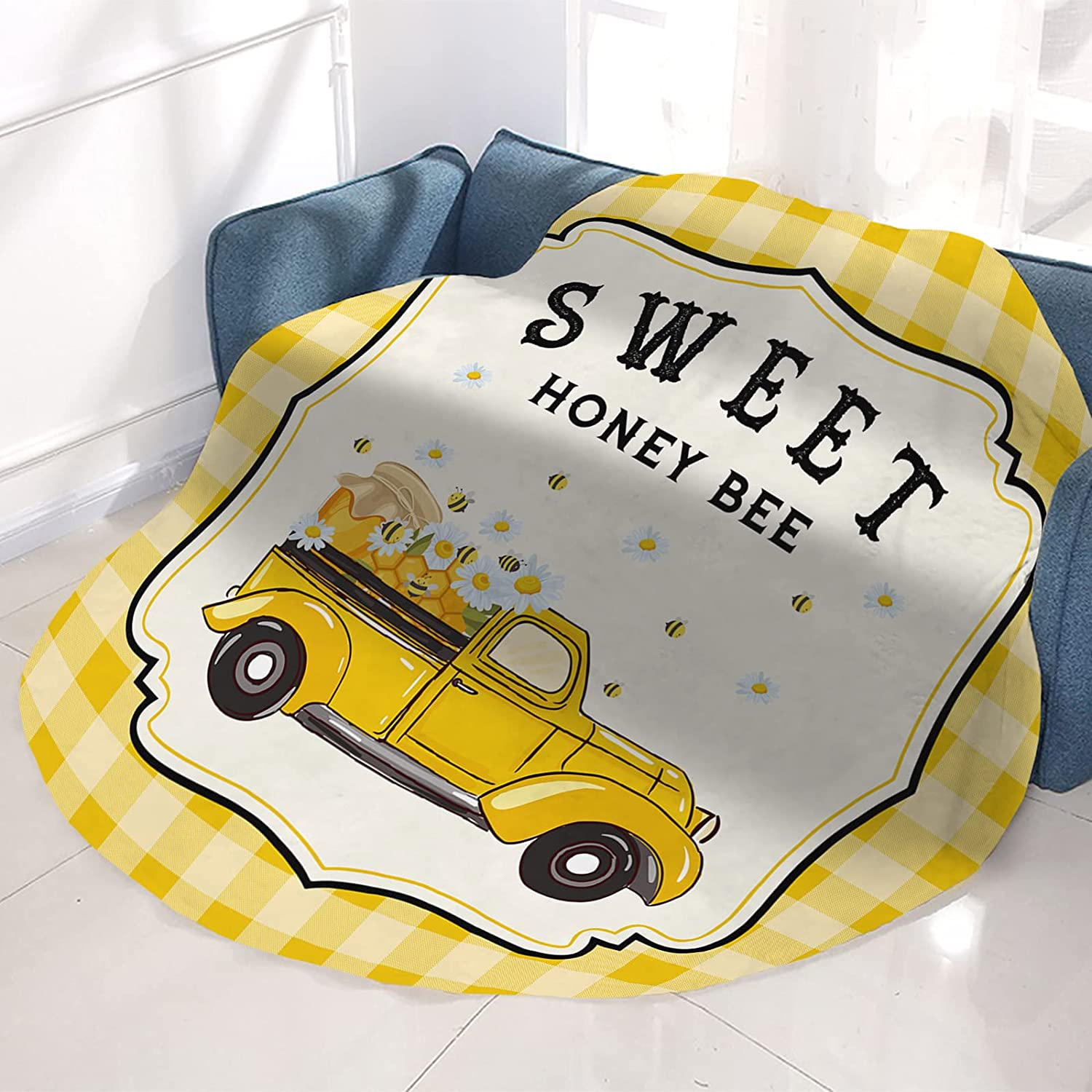 NEW before selling COLORSUM Flannel NEW Round Blanket Summer Bees Sweet Hone with Truck