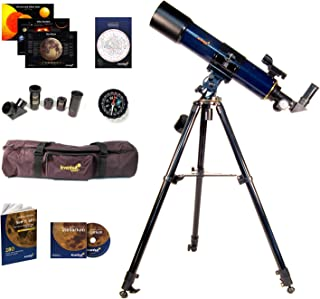 Levenhuk Strike 90 Plus Refractor AZ Mount Telescope – Portable Travel Scope with case and Accessory kit for Beginners