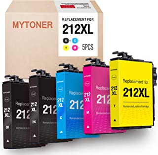 MYTONER Remanufactured Ink Cartridge Replacement for Epson 212 XL 212XL for Expression Home XP-4100, XP-4105, Workforce WF-2850, WF-2830 (2 Black, 1 Cyan, 1 Magenta, 1 Yellow, 5-Pack)