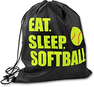 Knitpopshop Eat Sleep Baseball Softball Drawstring Tote Bag Black Mom Coach Dad Players Beach Travel Gift