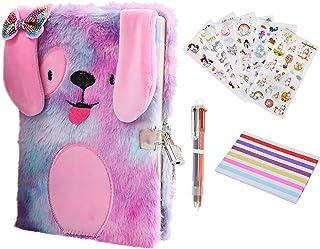 دفتر خاطرات دختران با قفل و کلید ، دفترچه مخفی مخفی مخمل خواب دار یک ست هدیه برای کودکان ، دفترچه یادداشت سگ توله سگ برای پسران که دفتر یادداشت طراحی می نویسند 160 صفحه