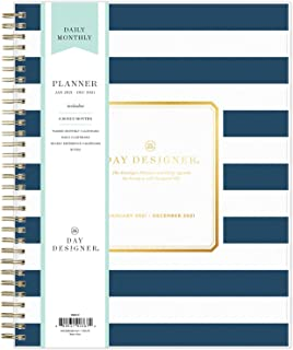"""$34 » Day Designer for Blue Sky 2021 Daily & Monthly Planner, Frosted Flexible Cover, Twin-Wire Binding, 8"""" x 10"""", Navy Stripe (..."""