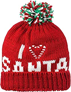 9f9e9a78c5834c I Love Santa Candy Cane Christmas Knit Winter Beanie Hat Cap Ugly Sweater  Party X Mas