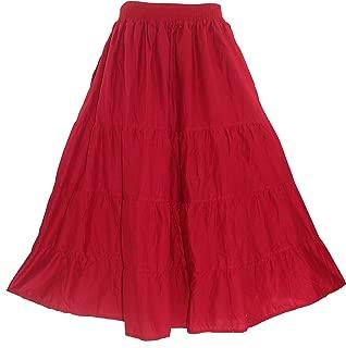 Beautybatik Cotton Plus Size Boho Bohemian Long Maxi Tier Skirt with Pockets