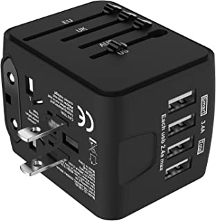 Jollyfit International Universal Travel Adapter 4 USB Charger AC Power Wall Plug US UK AU EU Worldwide 150 Countries with Safe Fuse for Europe Asia Germany France Italy India China Russia American British European Adapter (Black)