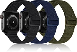 3 PACK Sport Nylon Compatible with Apple Watch Bands 38mm 40mm 41mm 42mm 44mm 45mm, Adjustable Lightweight & Breathable Strap for iWatch Series 7/6/5/4/3/2/1/SE Men Women Black/Dark Blue/Olive Green