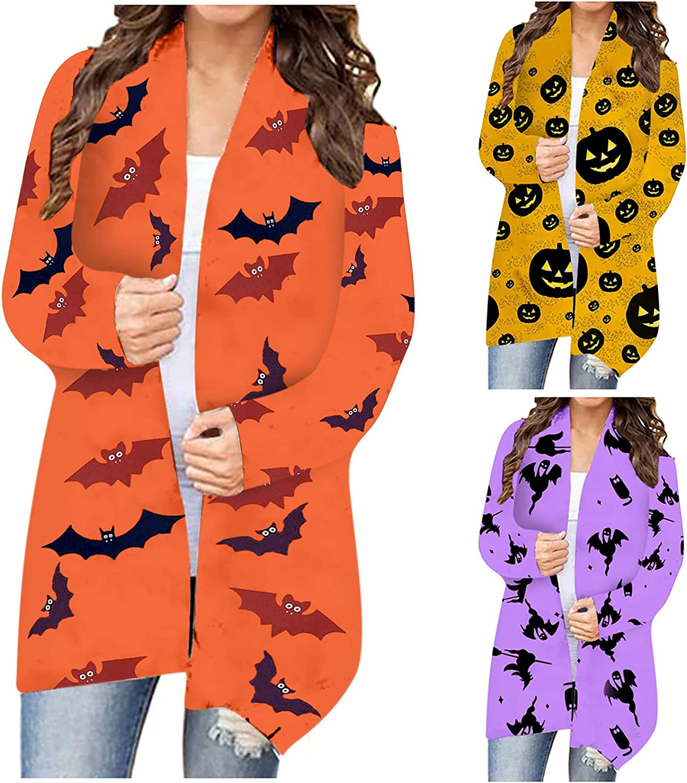 Women's Halloween Sweaters Plus Size Bat Pumpkin Printed Cardigan Jacket Long Sleeve Top Lightweight Long Open Front Shirts