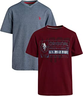 U.S. Polo Assn. Boys' T-Shirt - 2 Pack Short Sleeve Fashion Solid and Graphic Tee (Big Boys), Navy/Maroon, 18-20