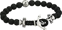 "8"" Lava Bead Bracelet with Anchor Hook Closure in Stainless Steel"
