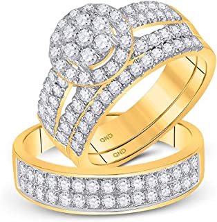 FB Jewels 14kt Yellow Gold His Hers Round Diamond Cluster Matching Bridal Wedding Ring Band Set 1-3/4 Cttw