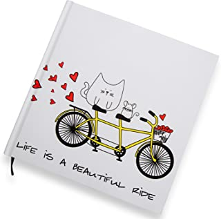 Pavilion Gift Company Blobby Cat - Life is A Beautiful Ride Cat and Mouse Hard Cover Journal Notebook 8x8 Inch, Solid