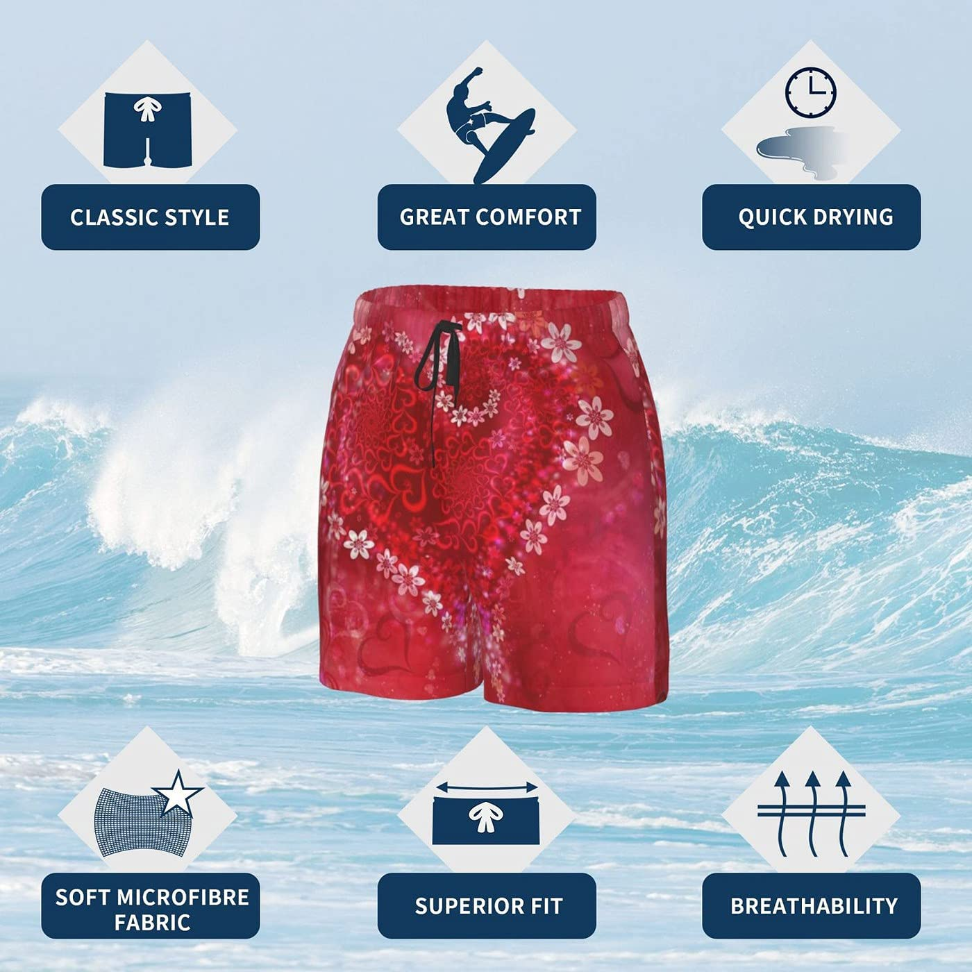 count Valentine's Day Men's 3D Printed Funny Summer Quick Dry Swim Short Board Shorts with
