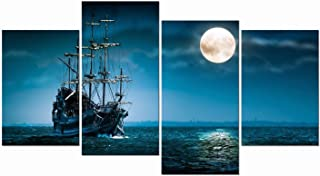 Pyradecor Night Navigation 4 Piece Modern Stretched and Framed Seascape Artwork Giclee Canvas Prints Moon Pictures Paintings on Canvas Wall Art for Living Room Bedroom Home Decorations