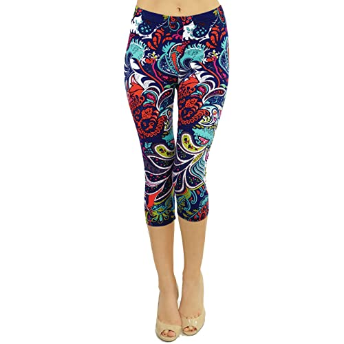 63988f5fc8 VIV Collection Print Brushed Ultra Soft Cropped Capri Leggings Regular and  Plus (Sizes XS -