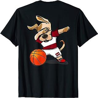 Dog Dabbing Latvia Basketball Jersey Latvian Sport T-Shirt