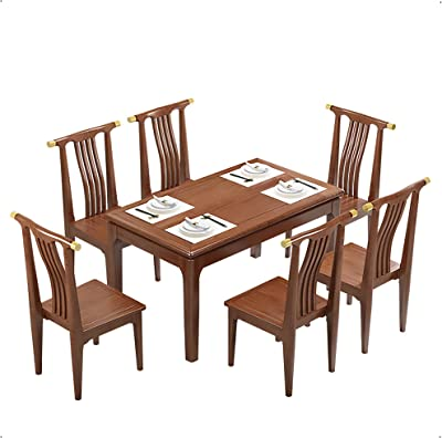Dining Table, Golden nanmu Dining Table and Chair Combination Rectangular Dining Table Dining Room Furniture Set of 5,1 Table and 4 Chairs