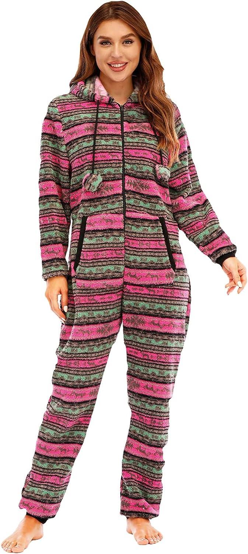Misaky Women's Family Santa Christmas Onesies Pajamas Adult Funny Matching Jumpsuit Sleepwear Red
