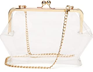 Patty Both Clear Transparent PVC Kiss Lock Chain Cross Body Bag for Women Chain Strap, NFL Stadium Approved