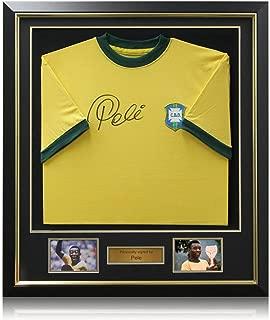 Pele Signed Brazil 1970 Soccer Jersey Framed | Autographed Sport Memorabilia