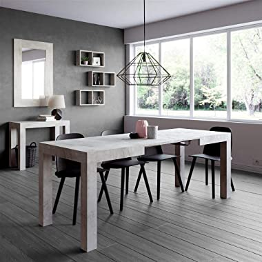 MOBILI FIVER, Table Extensible Cuisine, First, Couleur Béton, 120 x 80 x 76 cm, Made in Italy