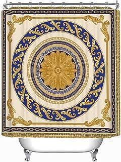 YOLIYANA Vector Shawl Print Baroque Floral Scroll Vector Shower Curtain Teal Shower Curtain 71''Long x 71''Wide