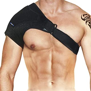 Shoulder Support Brace & Rotator Cuff for Men & Women by BRANFIT, Neoprene Shoulder Compression Sleeve with Pressure Pad is Ideal for Dislocated AC Joint, Labrum Tear & Frozen Shoulder Pain Relief