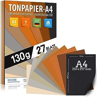Papier argile 27 feuilles de papier imprimante A4 130g naturel, jaune, soleil, sable, marron, ocre - PREMIUM - Non imprimé...