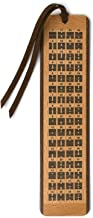I Ching The Book of Changes Hexagrams Chart with Descriptions on 2 Sided Wooden Bookmark with Suede Tassel