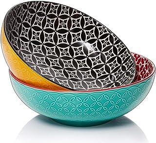 DOWAN Large Serving Bowls, 2.8 Quart Ceramic Salad Bowl, Big Pasta Bowl Set, Microwave & Dishwasher Safe, Sturdy & Stackab...