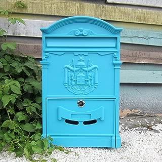 GAIXIA Postbox Outdoor Waterproof Mailbox Outdoor Rainwater Villa Mailbox with Lock Letter Box Retro Suggestion Box Mailbox (Color : Powder Blue)