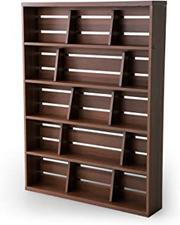 LOWYA 本棚 マンガ収納 ブックエンド 幅90 上段 単品 ウォルナット